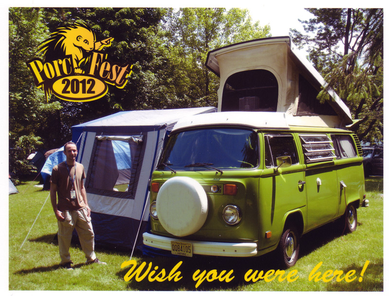 PorcFest postcard VW bus