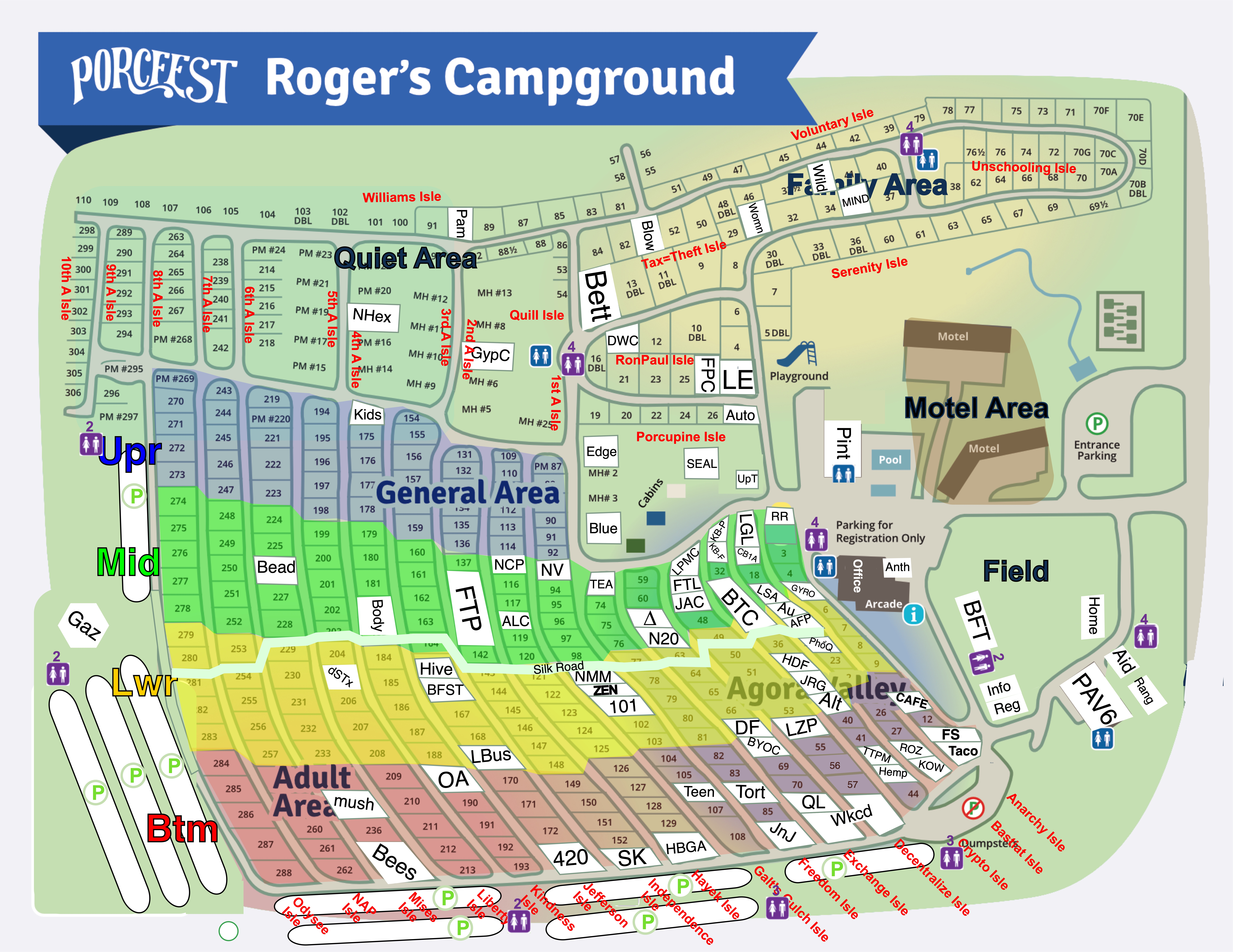 PorcFest campground map 2019